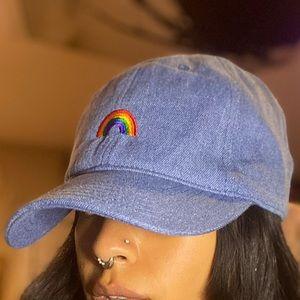 Rainbow denim baseball cap